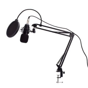 Live Audio BM-800 All Black Series Set Equipment Condenser Microphone 35 Type Metal Stand Metal Shock-Proof Frame 2.5m Audio Cable Usb Sound Card Sponge Ball Anti-Sprinkler