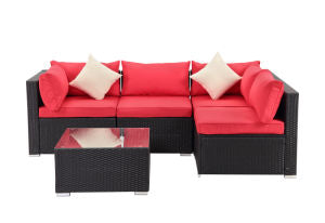 5 Piece Rattan Sectional Seating Group with Cushions