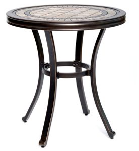 "Handmade Dining Table Contemporary Round a Tile-Top Design with Heavy-Duty Aluminum Frame 28"" Dia x 28.6"" Height"