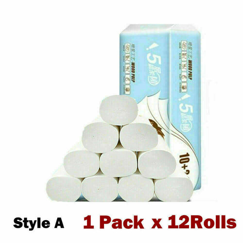 12Rolls Paper Towels Tissue Bathroom Soft 4-layer Household USA