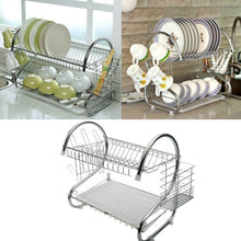 Load image into Gallery viewer, 2 Tier Dish Drying Rack Drainer Stainless Steel Kitchen Cutlery Holder Shelf