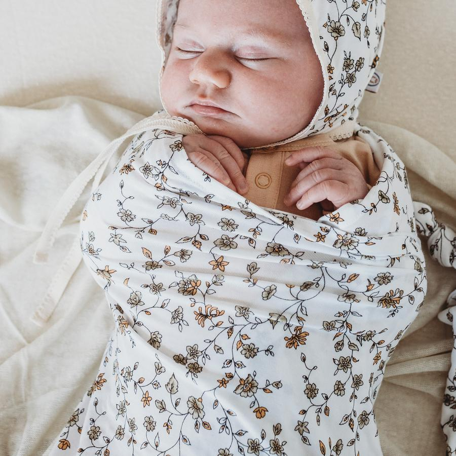BABY SWADDLE/WRAP - ORGANIC BAMBOO JERSEY - SECRET GARDEN