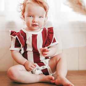 Bold stripe frill bodysuit in dark rust