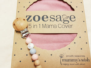 5 in 1 Nursing Cover by Zoe Sage-Organic Dusky pink
