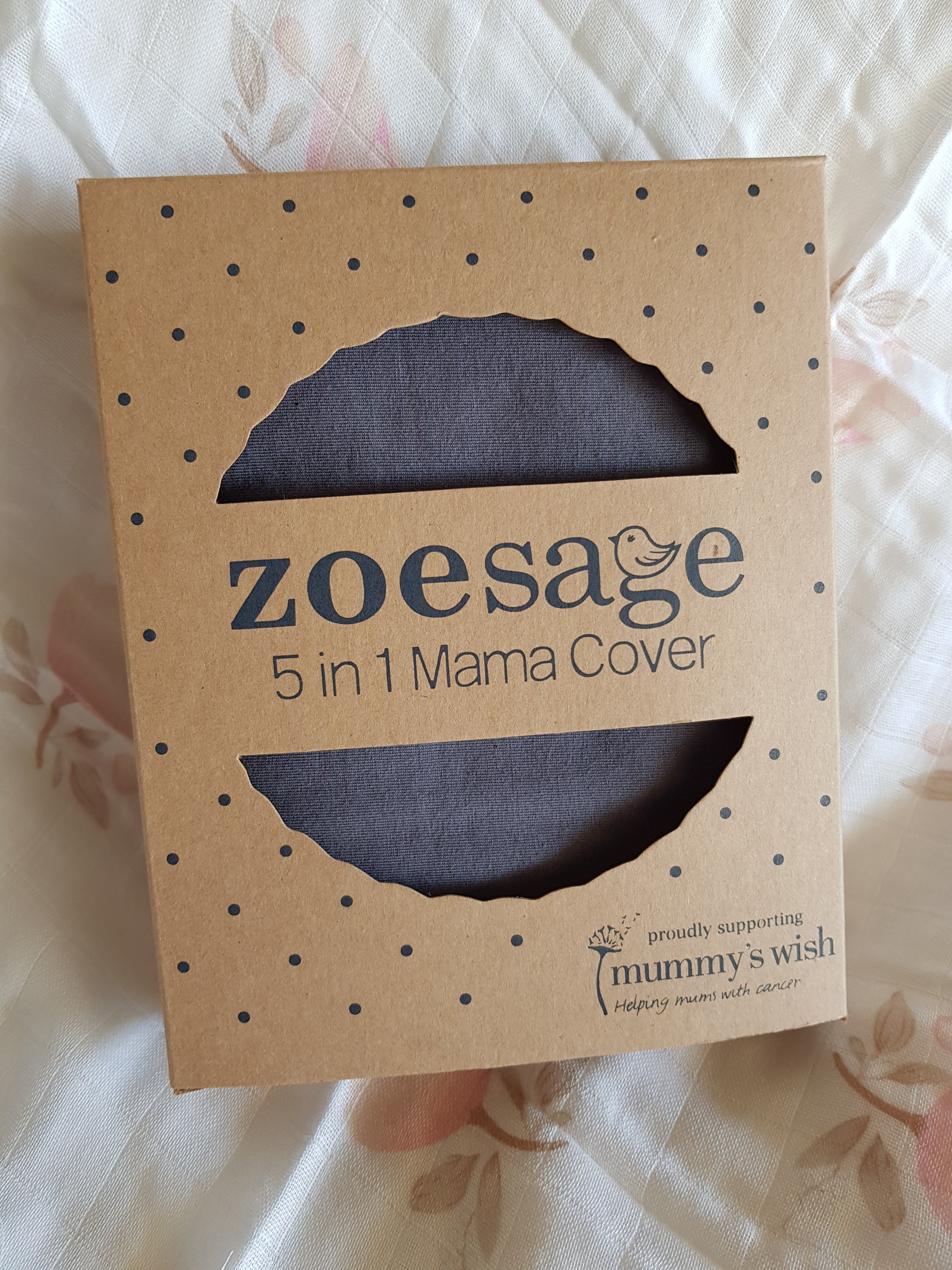 5 in 1 Nursing Cover by Zoe Sage- Organic Storm Grey