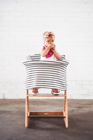 5 in 1 Nursing Cover by Zoe Sage-Organic Ebony stripes