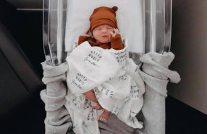 Bamboo Muslin Swaddle Blanket - Hello World in White