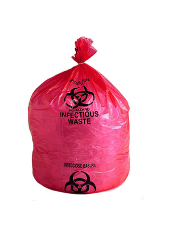 "BIOHAZARD WASTE BAG 11"" X 14"" 1-6 GALLON BX50"