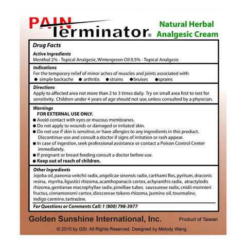 Golden Sunshine Pain Terminator Cream (500g Jar)