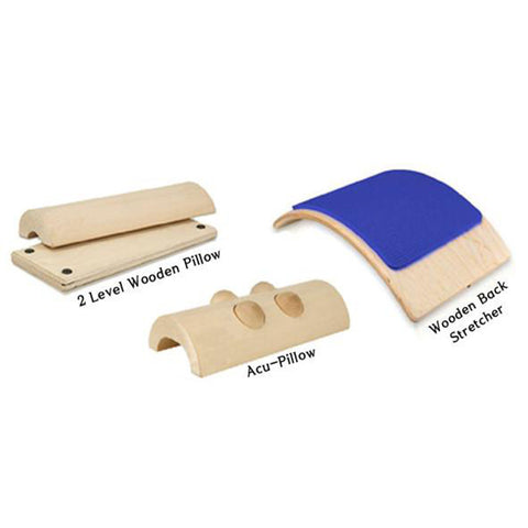 3 COMBO SET - 2 LEVEL WOODEN PILLOW, ACU PILLOW, BACK STRETCHER