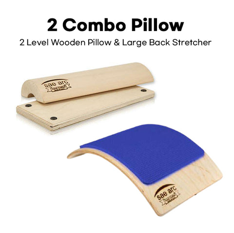 2 COMBO - 2 LEVEL WOODEN PILLOW AND LARGE BACK STRETCHER