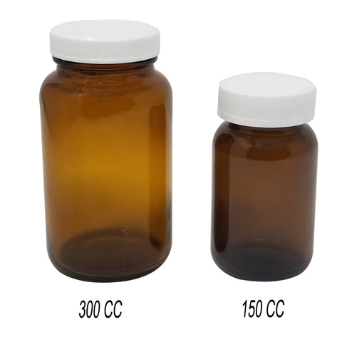 AMBER GLASS WIDE BOTTLE 300CC