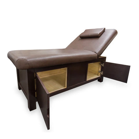 Wooden Frame Massage Table with Storage Compartment