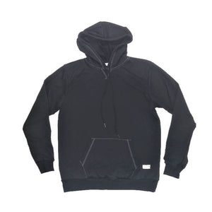 Black Peak Hoodie (Black with White Stitch)
