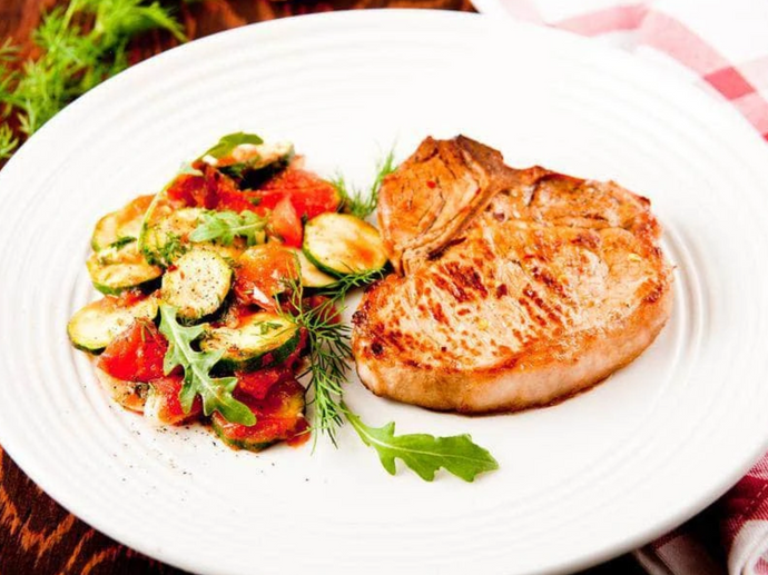 Garlic & Rosemary Boneless Pork Chops With Arugula Salad