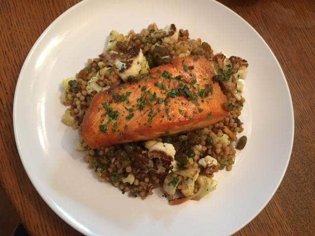 Curried Couscous with Salmon and Brown Butter Vinaigrette