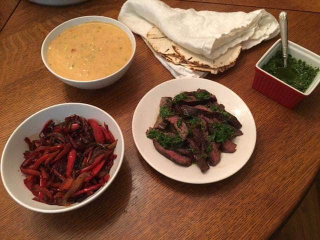 Skirt Steak Fajitas with Chimichurri and Chili Con Queso