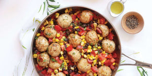 Southwest Turkey Meatballs with Warm Corn and Black Bean Salsa Recipe