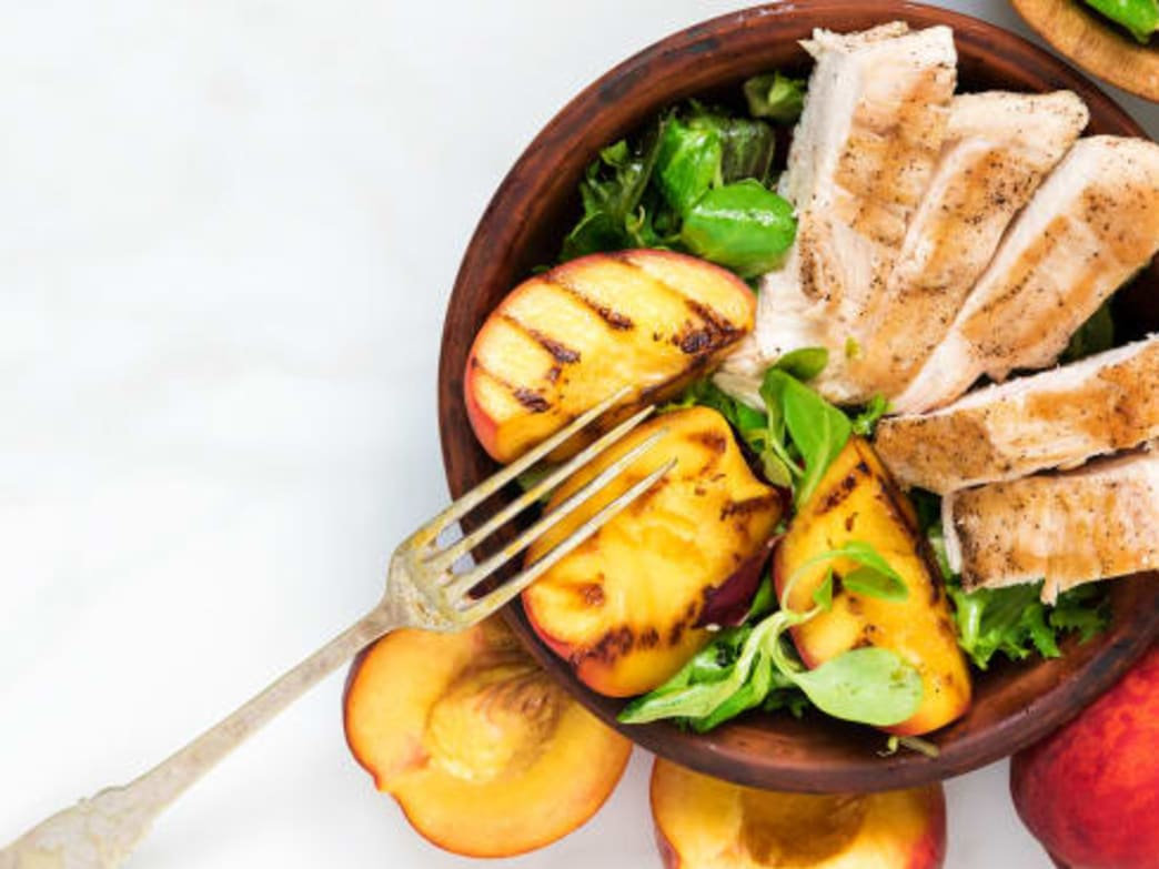 grilled basil balsamic chicken and peaches