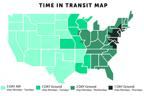 map showing shipping times by state