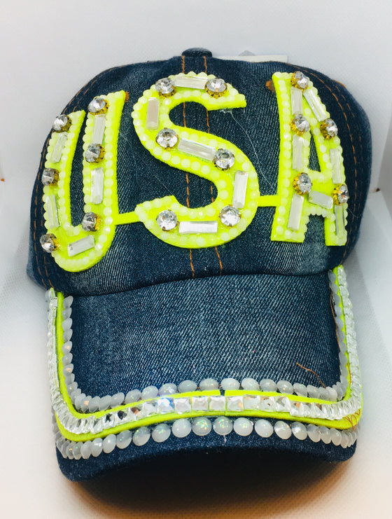 "Blue ""USA"" Bling Studs Denim Baseball Cap"