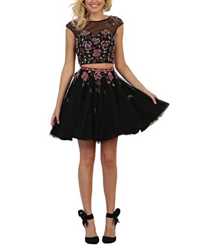 Black Blossom 2pc Dress