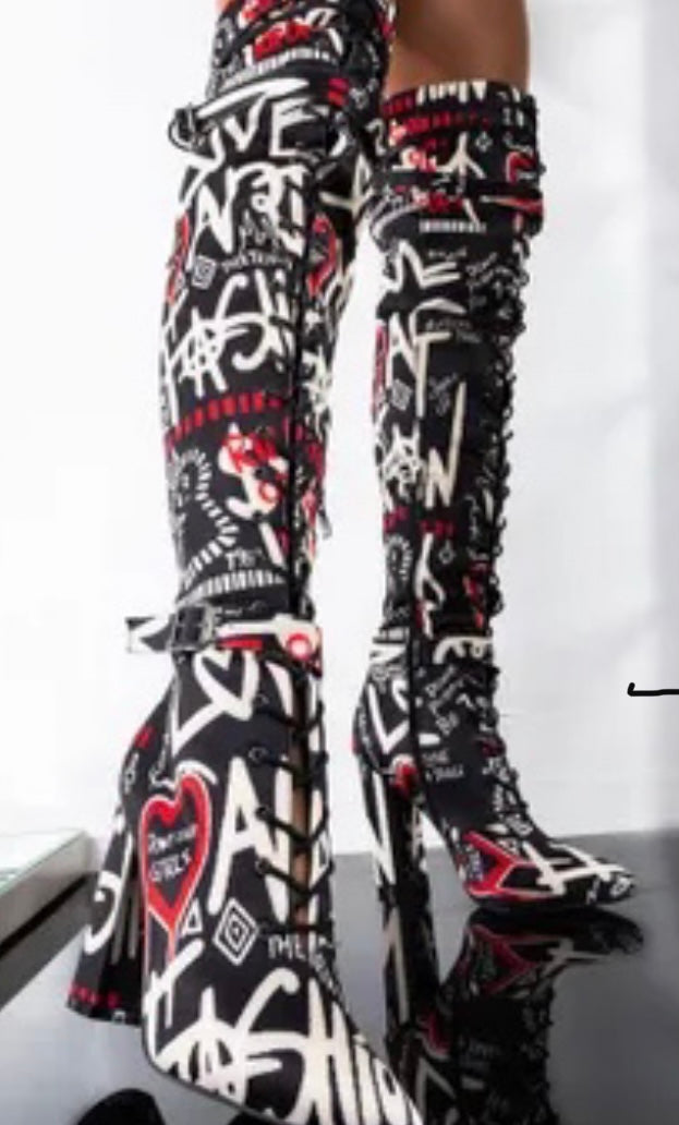 Black Graffiti Boot