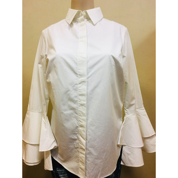 Button Up Bell Sleeve Shirt