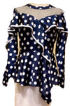 Navy Polka Dot Ruffle Blouse