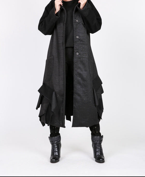 Black Frilly Oversized Coat