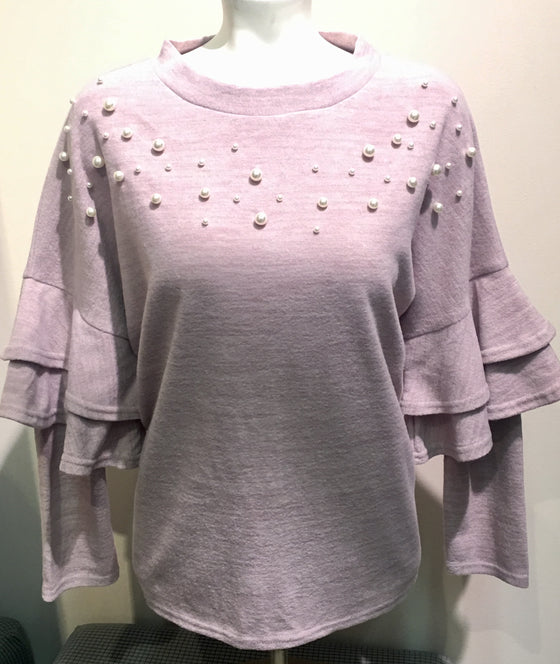 Double Ruffled Knit Top W/Pearls