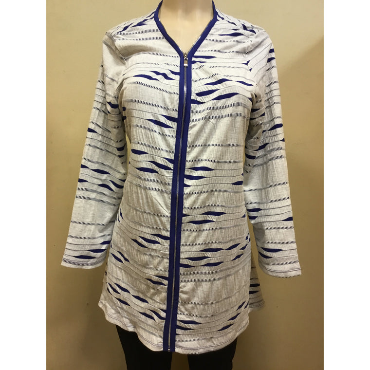 Blue Zebra Zip Up