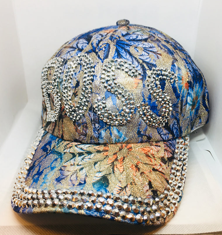 "Blue Flower ""BOSS"" Bling Studs Baseball Cap"