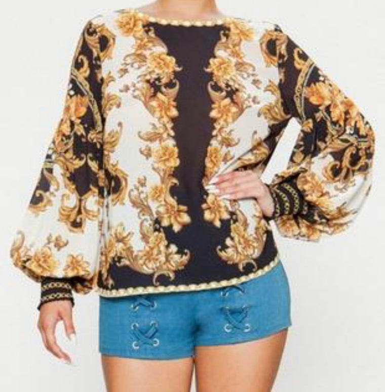 Golden Flower Scroll Blouse