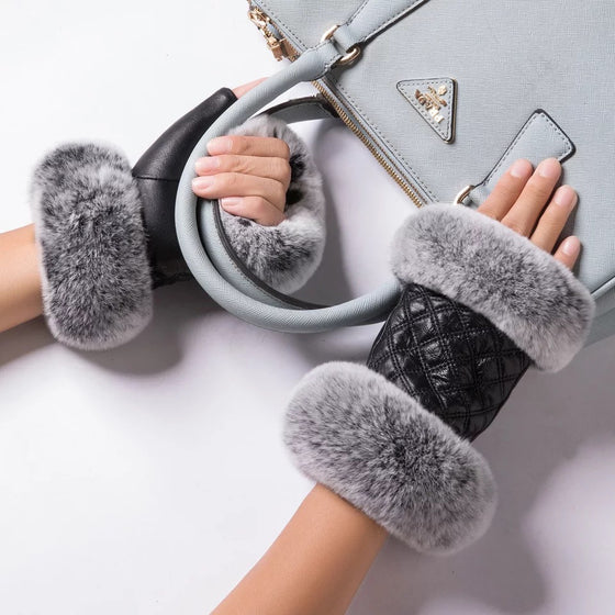 Leather & Fur Driving Gloves