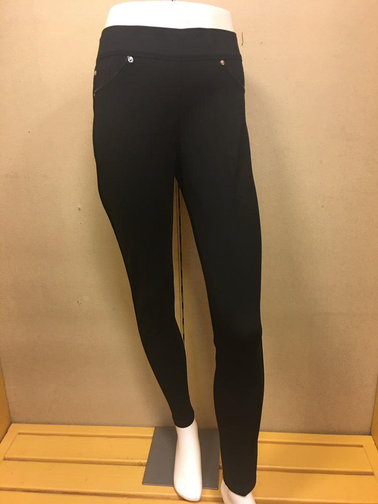 Black Leather Piped Pants