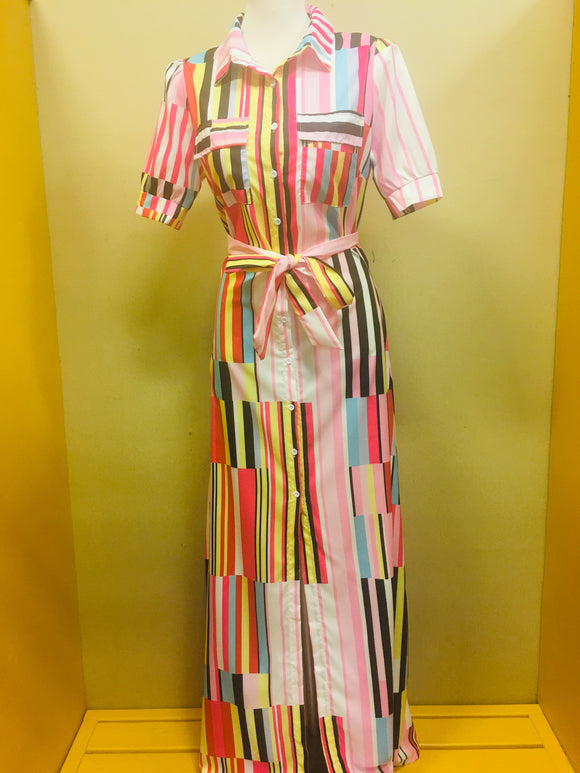 Pink Colorful Strip Boss Maxi