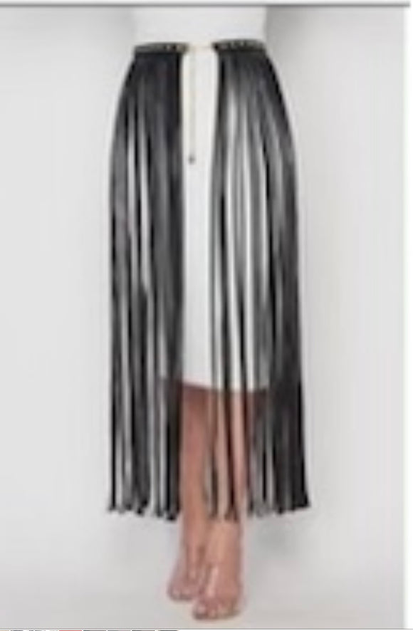 Bossy Long Black Fringe Studded Belt