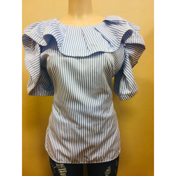 Blue & white Peplum Top