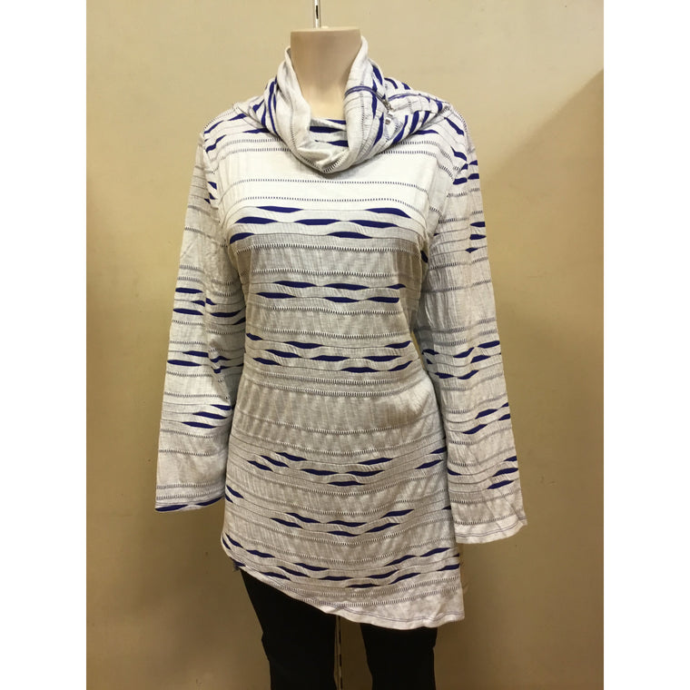Open Neck Blue  Zebra Tunic