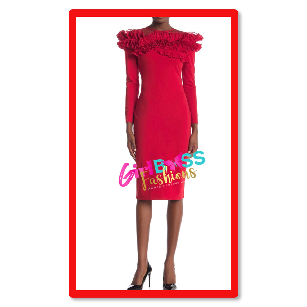 Red Pleated Ruffle Dress