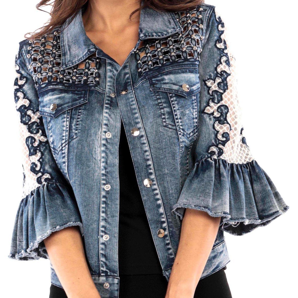 Denim Embellished Short Top