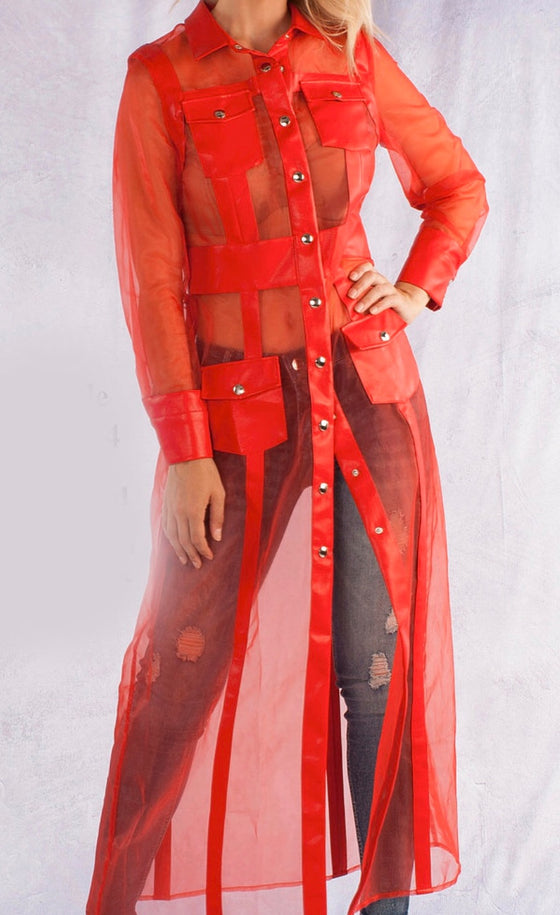 Red Sheer Leather Duster
