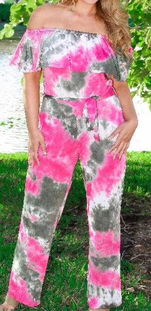 Pink Stonewashed Pants Jumpsuit