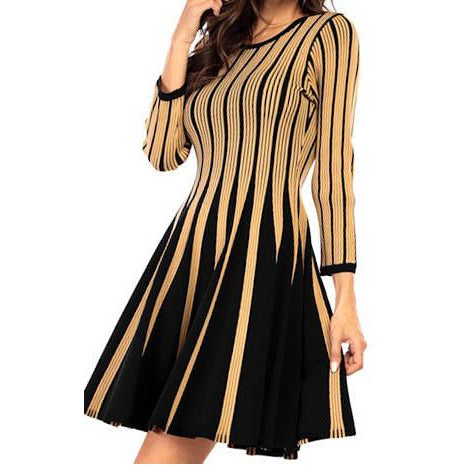Gold And Black Swing Dress