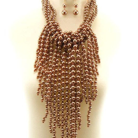 Rose Beaded Fringe Necklace