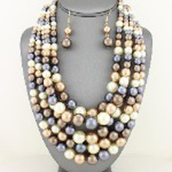 Multi-Tone Layered Pearl Necklace Set