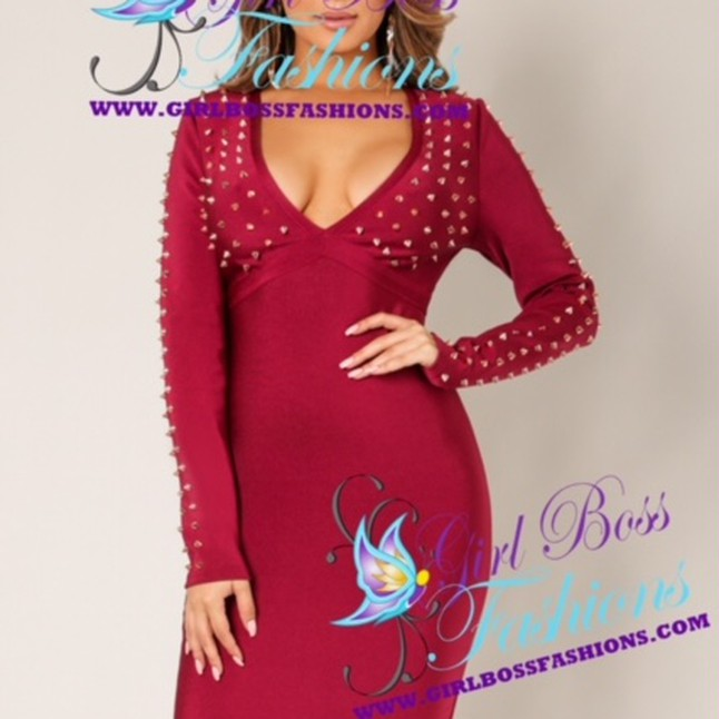 Rose Gold Spiked Bandage Dress