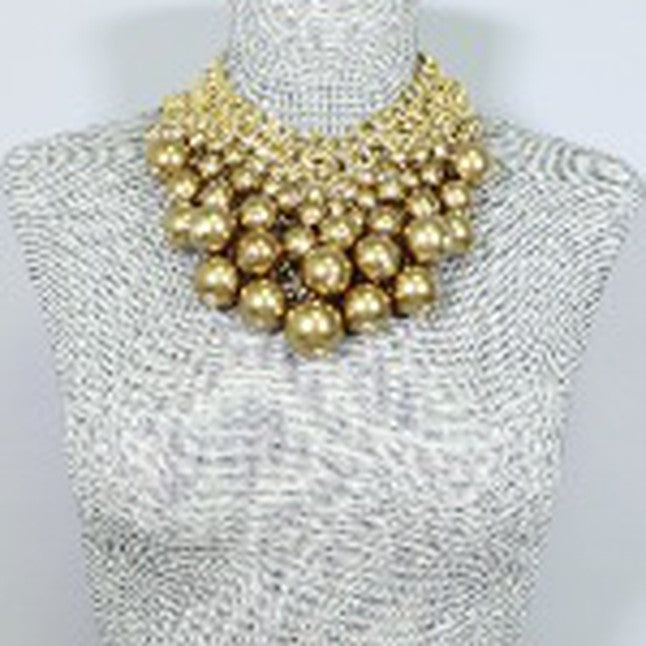 Statement Pearl Armor Bib Necklace