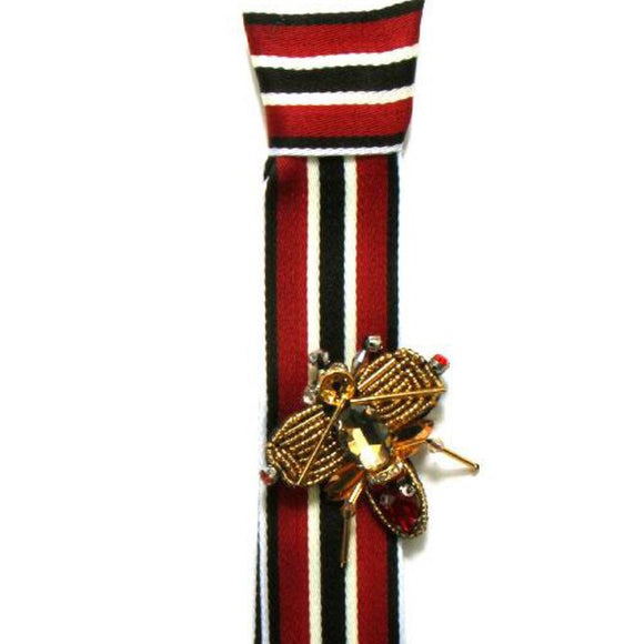 Bee Jeweled Striped Necktie Brooch